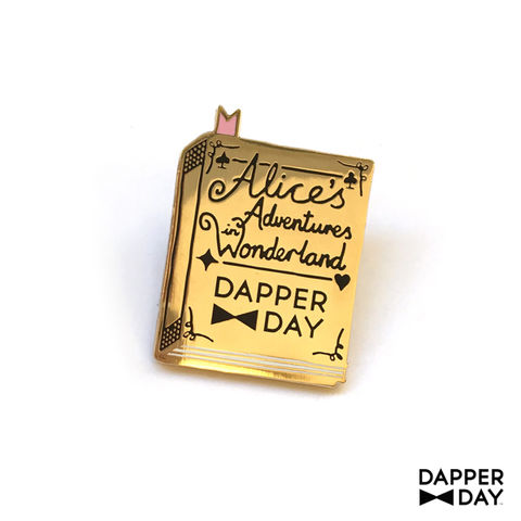 Wonderland,Book,Pin,Alice in Wonderland book Lapel Pin Dapper Day