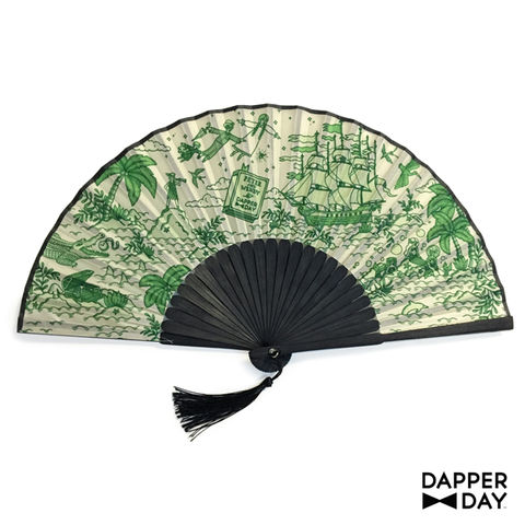 Neverland,Print,Fan,Dapper Day Peter Pan Neverland folding bamboo hand fan
