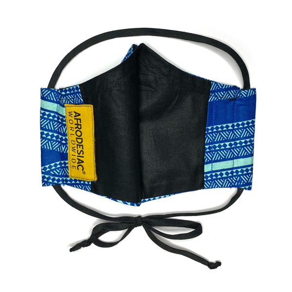 Azure Geometric African Print Mask - product images  of