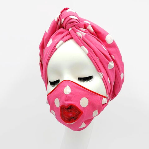 Less,of,Your,Lips:,Designer,Turban,&,Mask,Set, face mask turban lips polkadots Julia Clancey Dapper Day