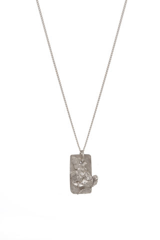 Silver,Textured,Tag,rosmillar, white gold, necklace, british designer, london