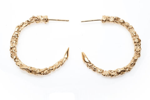 Large,Thorn,Hoop,Earrings,gold, texture, hoop, earrings, ros millar, british handmade, fortress