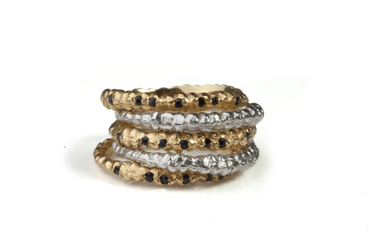 Black Sapphire Fine Gold Band - product images  of