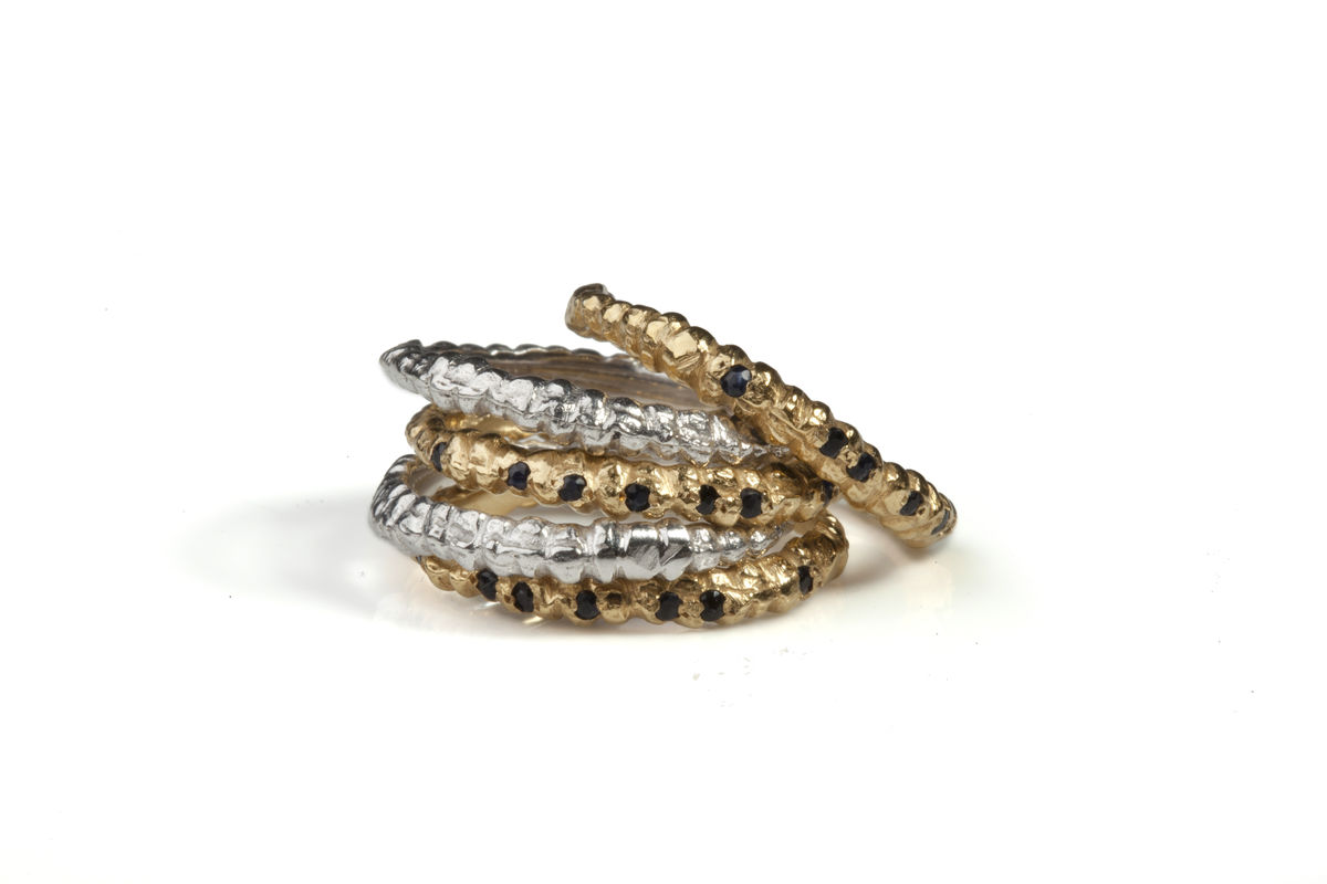 Black Sapphire Fine Band Ring Stack - product images  of