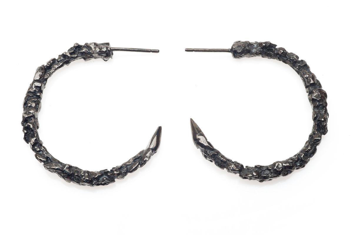 Large Black Thorn Hoop Earrings