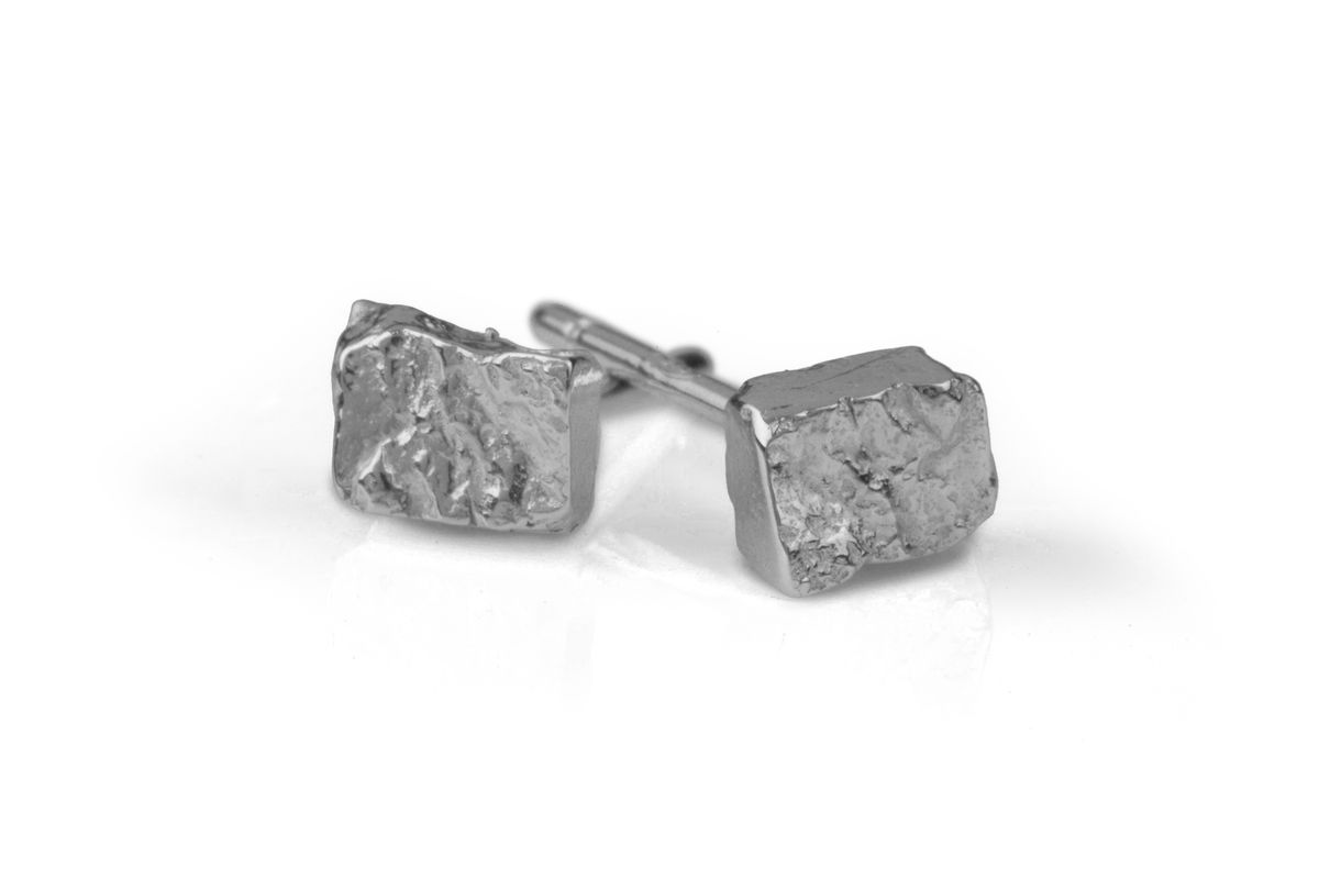 Silver Rectangle Stud Earrings  - product images  of