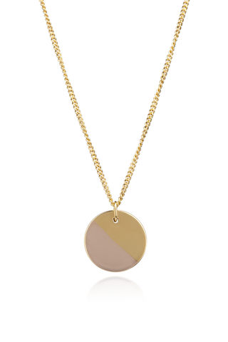 Golden,Rose,Lunar,Disc,rose gold, lunar, disc, pendant, curb chain, handmade, polished, brushed texture, rosmillar, jewellery, necklaces