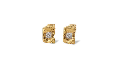 Sapphire,Rock,Earrings, princess cut, yellow gold, jewellery, rosmillar