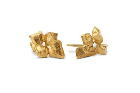 Coupled,&,Carved,Earrings, yellow gold, jewellery, rosmillar, earrings, carved, handcrafted