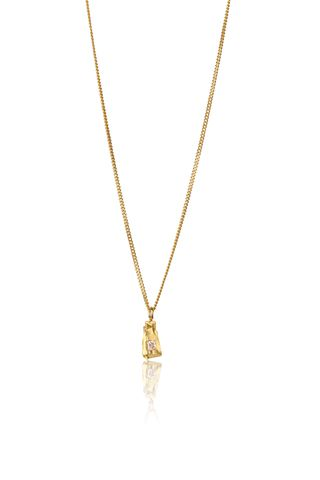 Solo,Golden,Carve,Necklace,Sapphire, princess cut, yellow gold, jewellery, rosmillar