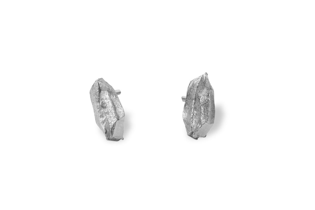 Solo Icy Silver Carved Earrings - product images  of