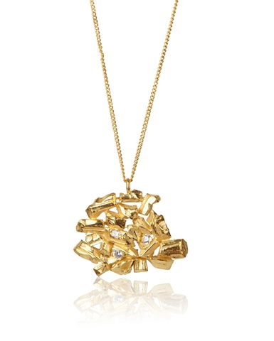 Golden,Carve,Necklace,carve necklace, yellow gold, handmade, diamonds, sapphires, ros millar