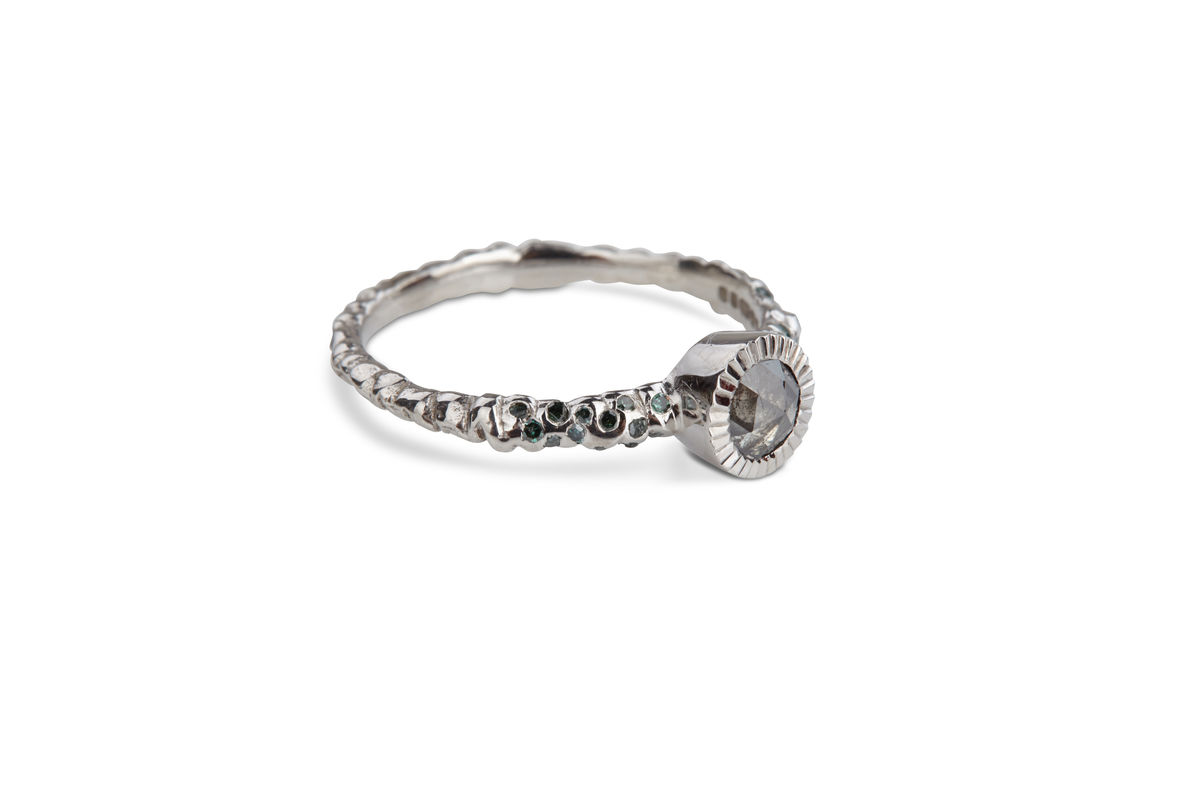 Grey Rose Cut Diamond Ring - product images  of