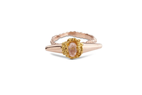 Golden,Rose,Meteor,Shower,II,Luxe,Ring,rosmillar, rose gold, designer, jewellery, ring, meteor II, London, rose quartz