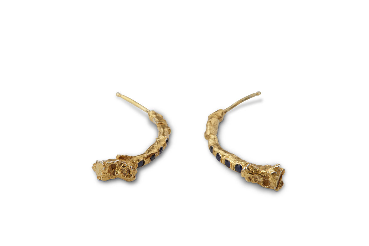 Yellow Gold Sapphire Half Hoop Branch Earrings - product images  of