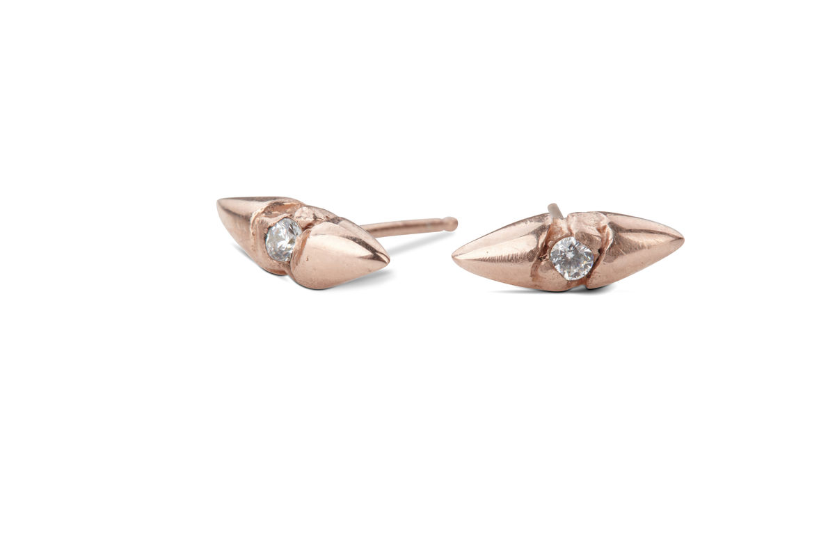 White Sapphire Rose Gold Thorn Earrings - product images  of