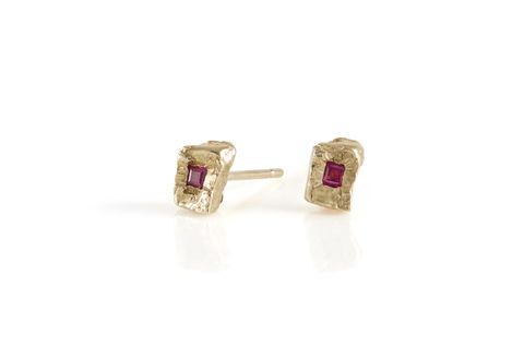 Ruby,Rock,Earrings,ruby, rubies, ruby earrings, gold textured earrings, handmade, fine jewellery,