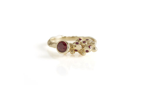 Ruby,Stud,Revival,Ring, ruby ring, ruby gold stud ring, burmese rubies, made in london, handmade