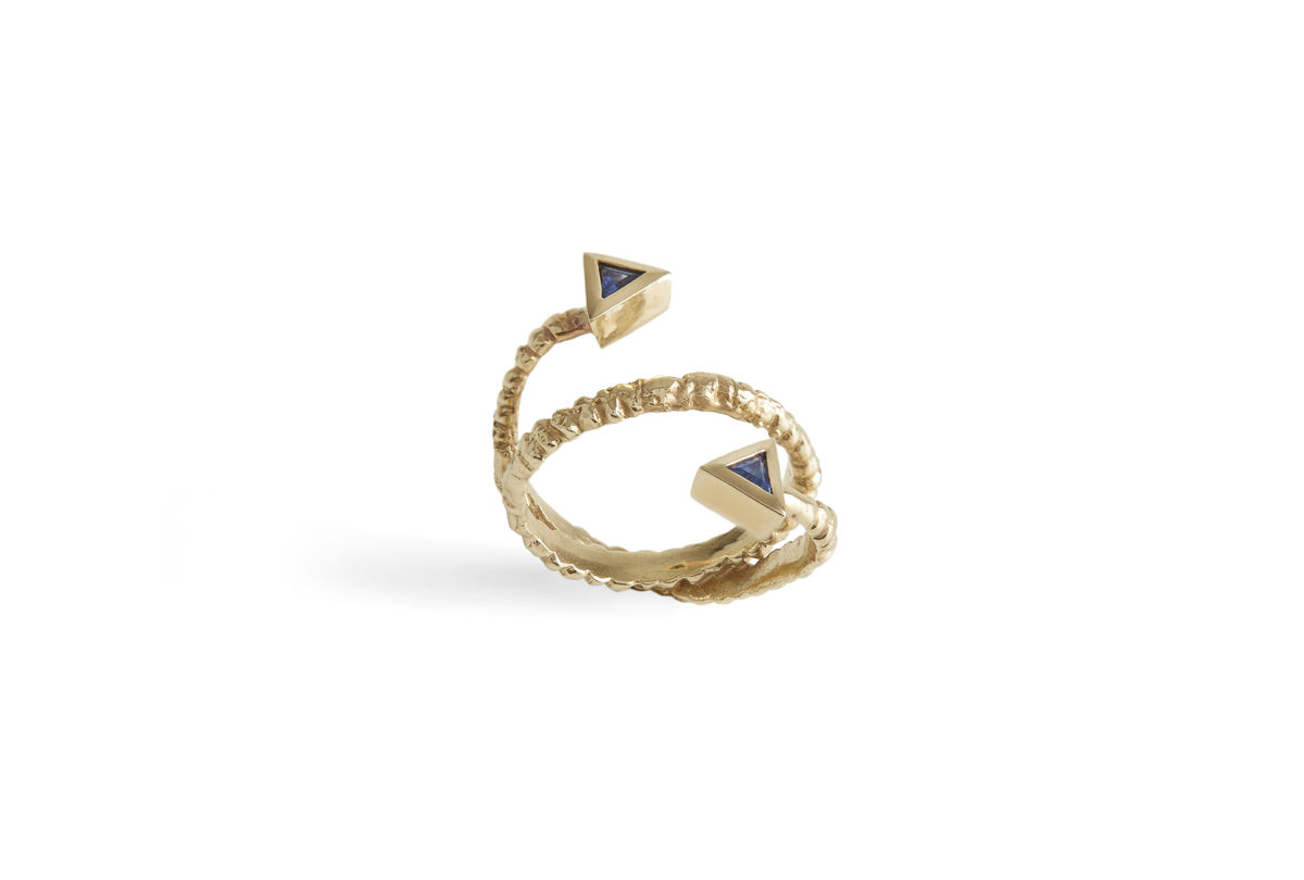 Blue Double Sapphire Stud Ring - product images  of