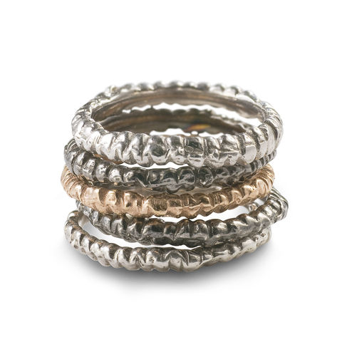 Fine,Band,Stack,stacking rings, fine band, rose gold, white gold, handmade, cuttlebone cast rings
