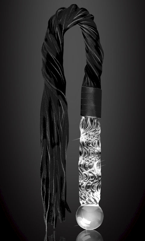 Luxury Glass Handled Leather Whip - product images  of