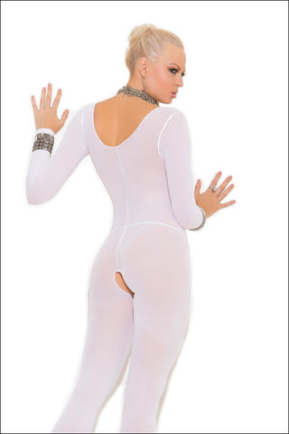 White,Crotchless,Body,Stocking,body stocking catsuit fetish wear clothing
