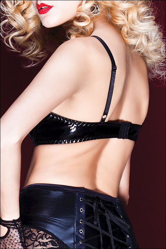 Coquette Darque Padded PVC Bra with Skull Charm - product images  of
