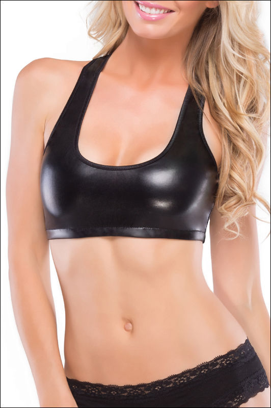 Coquette Darque Wet look Racer Back Bra Top. - product images  of