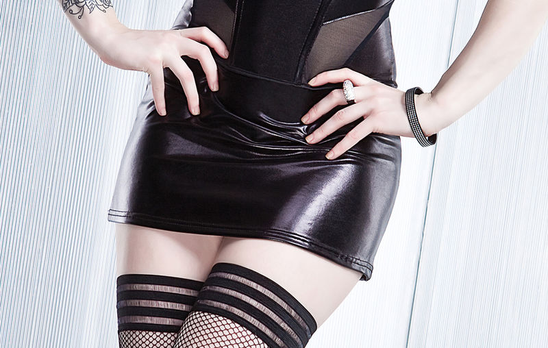 Coquette Darque Black Wet Look Mini Skirt - product images  of