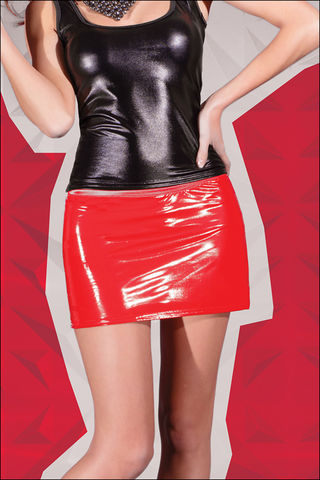 Coquette,Darque,Red,Wet,Look,Mini,Skirt
