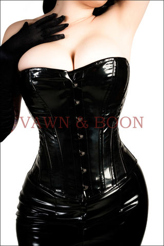 Black,Venom,Steel,Boned,Premium,PVC,Corset,pvc fetish clothing steel boned corset tight lacing