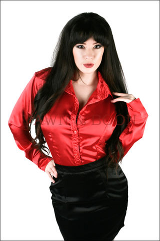 Satin,Crossdresser,Classic,Blouse,Red,Satin Crossdresser Blouse