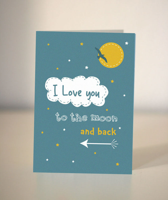 Love You To The Moon And Back Card Valentine S Card Card For