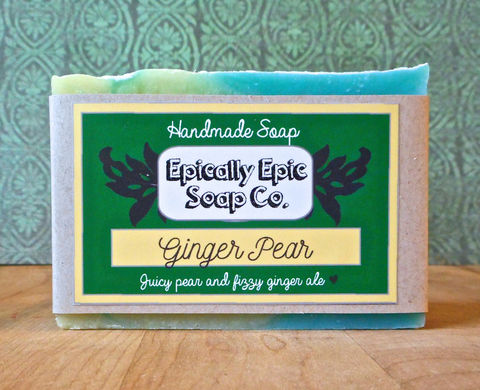 Ginger,Pear,Cold,Process,Soap,-,Vegan,Bath_And_Beauty,soap,cold_process_soap,handmade_soap,epically_epic,epically_epic_soap,soap_bar,homemade_soap,ginger_soap,pear_soap,jabon,yellow_green,olive oil,organic sunflower oil,organic palm kernel oil,castor oil,sodium hydroxide,water,fragrance