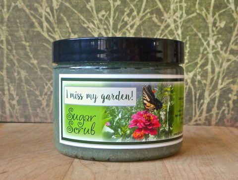 I,Miss,My,Garden!,Sugar,Scrub,8,oz,-,Dirt,,green,grass,,snap,peas,,carnation,,and,rose,leaves.,Bath_And_Beauty,Soap,sugar_scrub,body_scrub,vegan,scrubby_soap,body_polish,epically_epic_soap,natural_scrub,exfoliating_scrub,vegan_body_scrub,epic_retro,gardeners_scrub,dirt_scent,grass,cane sugar,turbinado sugar,olive oil,castile soap,fragrance,vitamin