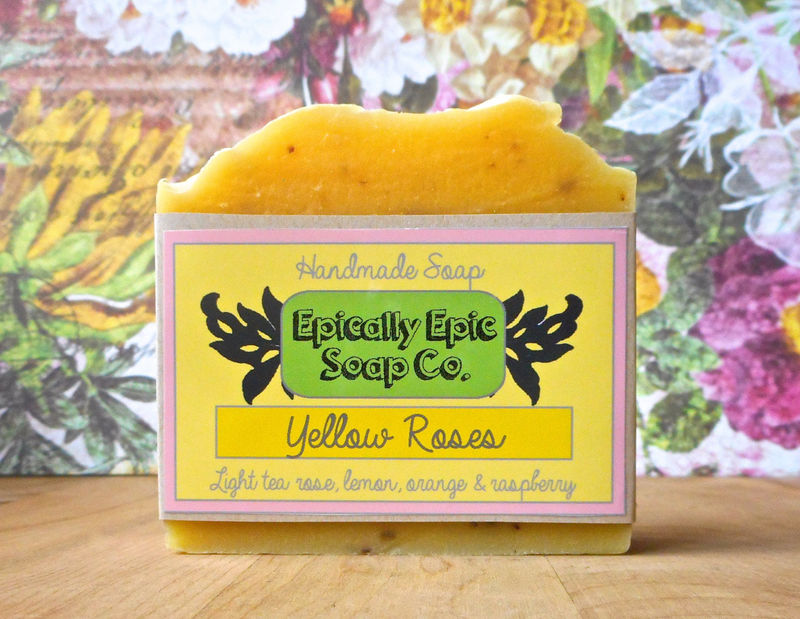 Yellow Roses Cold Process Soap - Vegan Handmade Soap - Rosewater, Citrus, Raspberry - product images  of