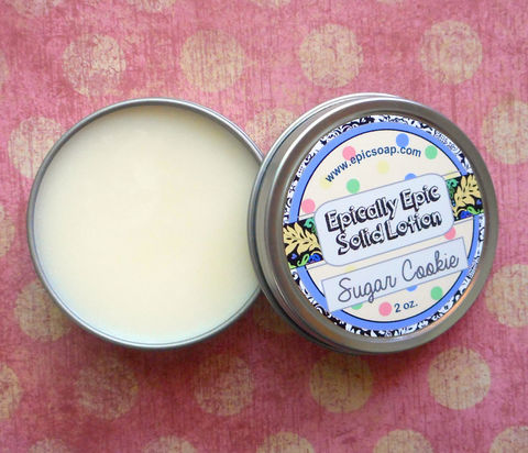 Sugar,Cookie,Many,Purpose,Solid,Lotion,-,Limited,Edition,Winter,Holidays,Scent,Bath_And_Beauty,hand_cream,solid_perfume,cuticle_butter,solid_lotion,vegan_lotion,epically_epic,travel_lotion,vegan,lotion_bar,lotion_tin,fall_collection,sugar_cookie_lotion,gourmand_scented,macadamia butter,candelilla wax,jojoba,olive squalane,fragrance