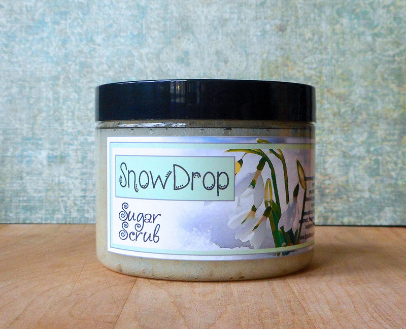 Snowdrop Sugar Scrub - 8 oz - Limited Edition Winter Holidays Scent - product images  of