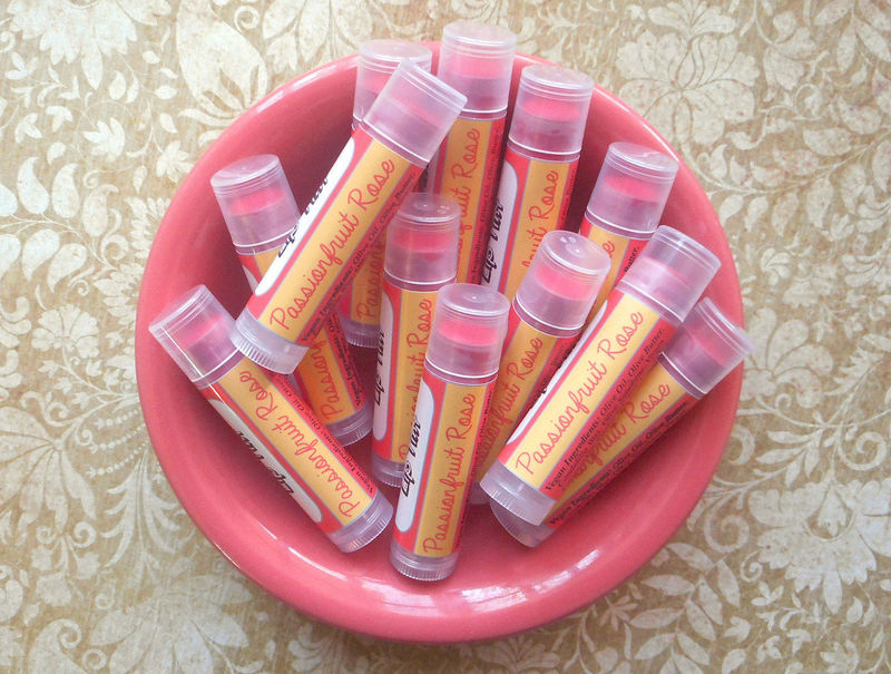 Passionfruit Rose Vegan Lip Tint - Tinted Lip Balm in Bright Coral Pink - product images  of