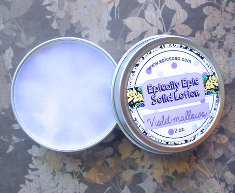 Violet-mallows,Many,Purpose,Solid,Lotion,-,Violet,and,Marshmallow,Bath_And_Beauty,hand_cream,solid_perfume,cuticle_butter,solid_lotion,vegan_lotion,epically_epic,travel_lotion,lotion_bar,lotion_tin,sweet_summer,violet_marshmallow,violet_lotion,marshmallow_lotion,macadamia butter,candelilla wax,jojoba,olive squalane,frag
