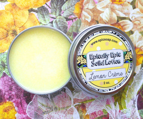 Lemon,Crème,Many,Purpose,Solid,Lotion,Bath_And_Beauty,hand_cream,solid_perfume,cuticle_butter,solid_lotion,vegan_lotion,epically_epic,travel_lotion,lotion_bar,lotion_tin,sweet_summer,lemon_vanilla_lotion,lemon_cookie_scented,lemon_cream_scent,macadamia butter,candelilla wax,jojoba,olive squal