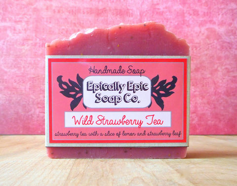 Wild,Strawberry,Tea,Cold,Process,Soap,-,Vegan,Handmade,Bath_And_Beauty,soap,cold_process_soap,handmade_soap,epically_epic_soap,bar_soap,natural_soap,vegan_soap,fruity_soap,exfoliating_soap,scrubby_soap,strawberry_soap,still_summer,iced_tea_soap,olive oil,organic palm kernel oil,castor oil,sodium hydroxid