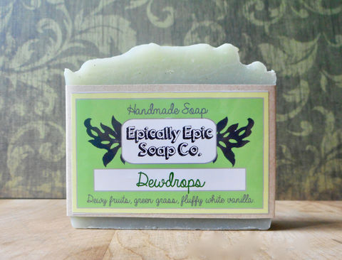 Dewdrops,Cold,Process,Soap,-,Vegan,Handmade,Bath_And_Beauty,soap,cold_process_soap,handmade_soap,epically_epic_soap,bar_soap,natural_soap,vegan_soap,gift_soap,spring_collection,honeydew_soap,honeydew_melon,vanilla_soap,lychee_mangosteen,olive oil,organic palm kernel oil,castor oil,sodium hydro