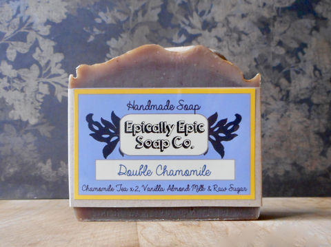 Double,Chamomile,Cold,Process,Soap,-,Vegan,Handmade,Bath_And_Beauty,soap,cold_process_soap,handmade_soap,epically_epic_soap,bar_soap,natural_soap,vegan_soap,gift_soap,spring_collection,chamomile_soap,chamomile_tea_soap,chamomile_vanilla,almond_milk,olive oil,organic palm kernel oil,castor oil,sodium h