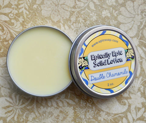 Double,Chamomile,Many,Purpose,Solid,Lotion,-,Limited,Edition,Spring,Scent,Bath_And_Beauty,hand_cream,body_butter,lotion_bar,epically_epic,solid_lotion,vegan_lotion,cuticle_butter,spring_collection,chamomile_oil,chamomile_scent,chamomile_tea,chamomile_cream,chamomile_vanilla,macadamia butter,jojoba,candelilla wax,coconut oil,oli