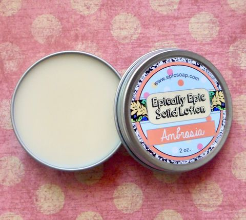 Ambrosia,Many,Purpose,Solid,Lotion,-,Limited,Edition,Summer,Scent,Bath_And_Beauty,hand_cream,body_butter,lotion_bar,epically_epic,solid_lotion,vegan_lotion,cuticle_butter,summer_collection,ambrosia_salad,marshmallow_fluff,coconut,pineapple,madarin_orange,macadamia butter,jojoba,candelilla wax,coconut oil,olive squalane