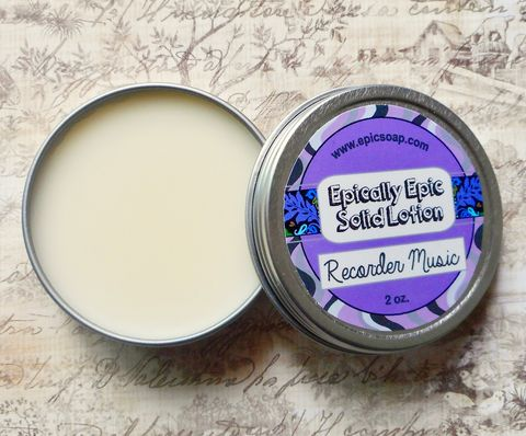 Recorder,Music,Many,Purpose,Solid,Lotion,-,Limited,Edition,Summer,Scent,Bath_And_Beauty,hand_cream,body_butter,lotion_bar,epically_epic,solid_lotion,vegan_lotion,cuticle_butter,summer_collection,medieval_mix,renaissance_faire,church_incense,rosemary_thyme,lavender_orange,macadamia butter,jojoba,candelilla wax,coconut oil,oliv