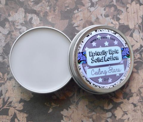 Ceiling,Stars,Many,Purpose,Solid,Lotion,Bath_And_Beauty,hand_cream,body_butter,lotion_bar,epically_epic,solid_lotion,vegan_lotion,cuticle_butter,summer_collection,sleep_scent,strawberry,lavender,vanilla,marshmallow,macadamia butter,jojoba,candelilla wax,coconut oil,olive squalane,fragrance,vita
