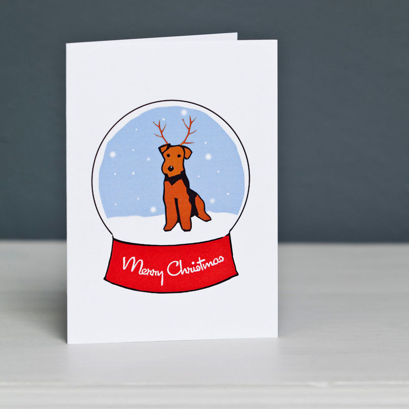 Welsh Terrier Snowglobe Christmas Card - product image