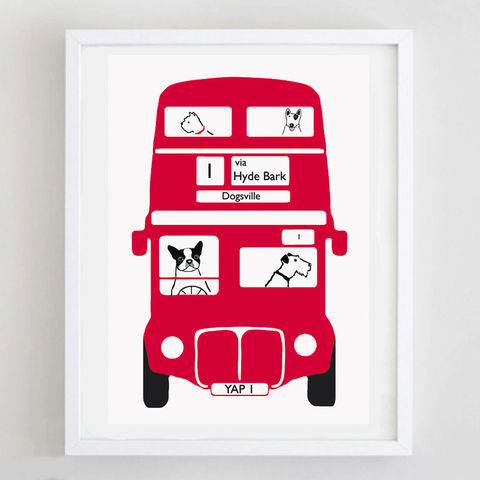 Terrier,London,Bus,Print,London Bus Dog Print, London Bus Terrier Print